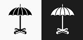 Umbrella Stand Icon on Black and White Vector Backgrounds