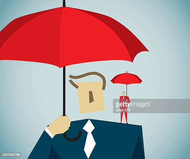 umbrella - white collar worker stock illustrations, clip art, cartoons, & icons