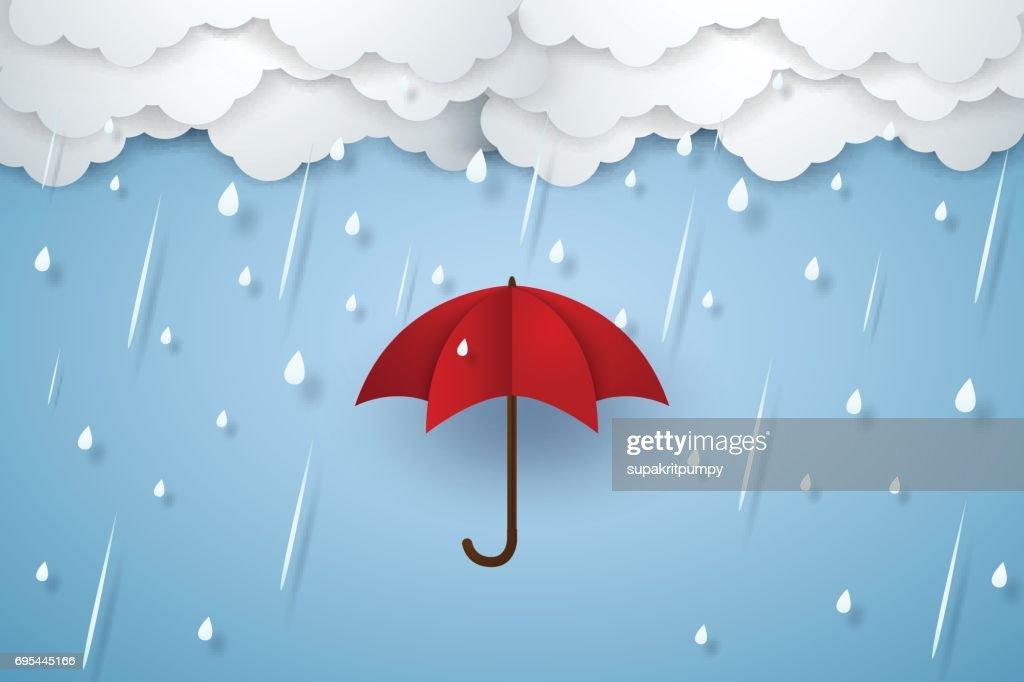 Umbrella with heavy rain , rainy season