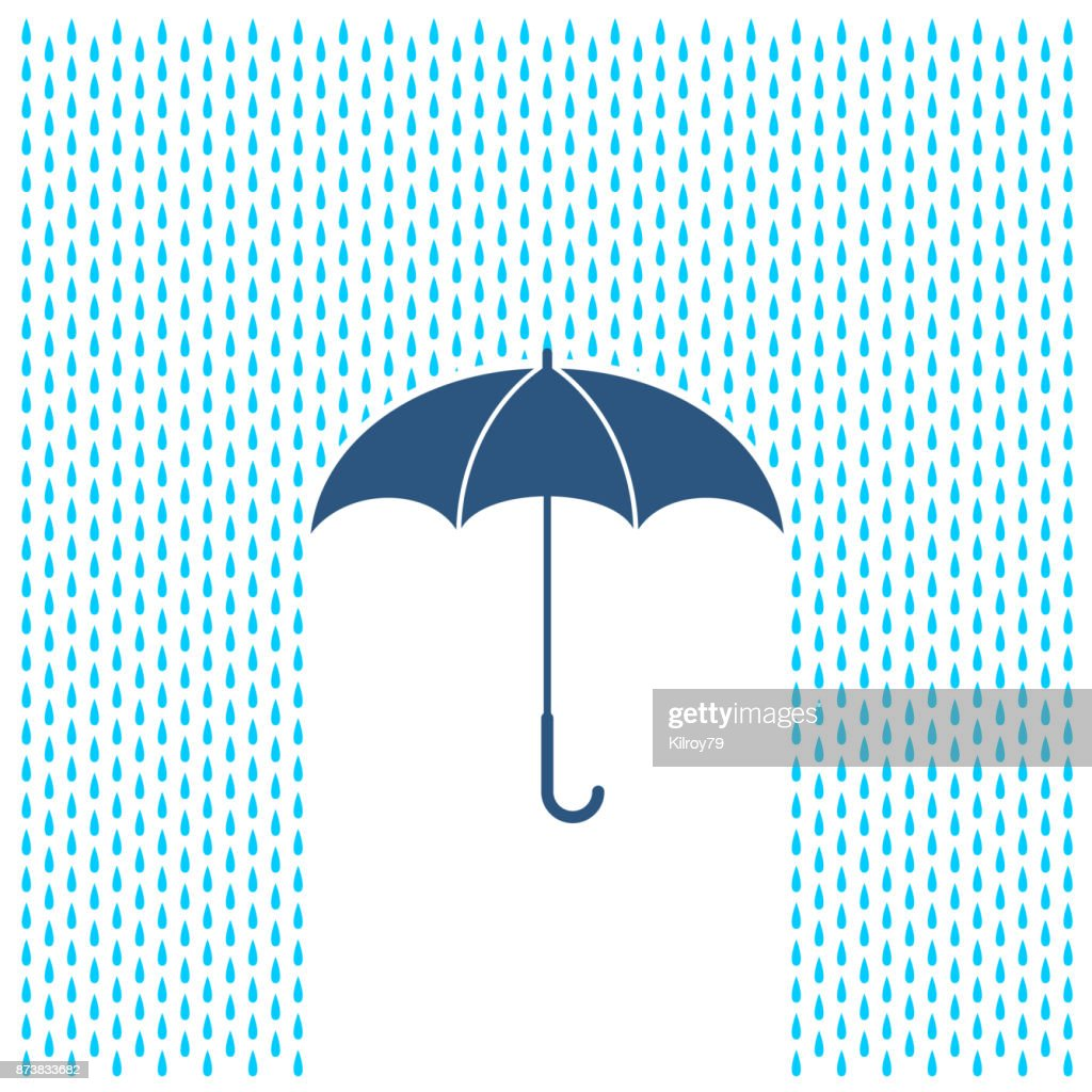 Umbrella with rain illustration. Rain water drops and umbrella protection.