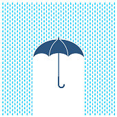 Umbrella with rain illustration. Rain water drops and umbrella protection.
