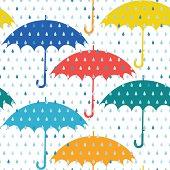 Umbrellas and rain. Seamless pattern.