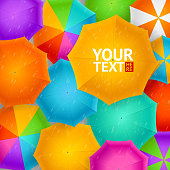 Umbrellas Autumn Background. Vector