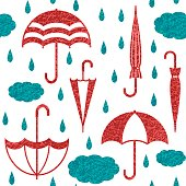 Umbrellas with clouds and raindrops vector seamless pattern background 3