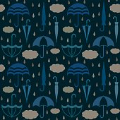 Umbrellas with clouds and raindrops vector seamless pattern background 4