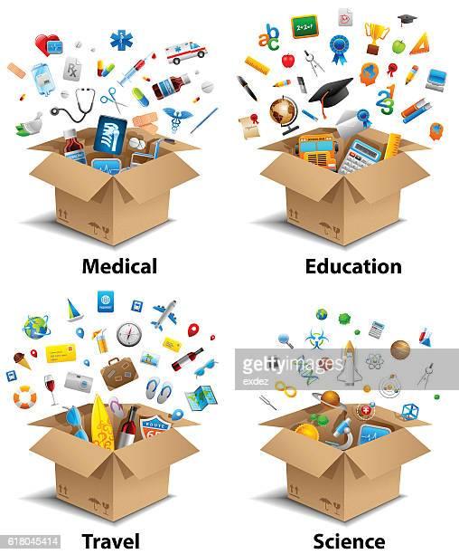 unboxing set - unboxing stock illustrations