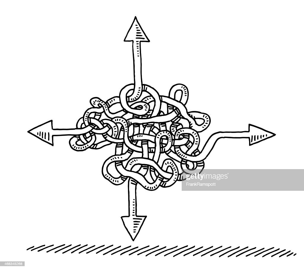 Uncertainty Direction Arrows Concept Drawing