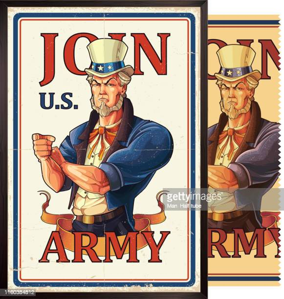 uncle sam army poster - marines stock illustrations