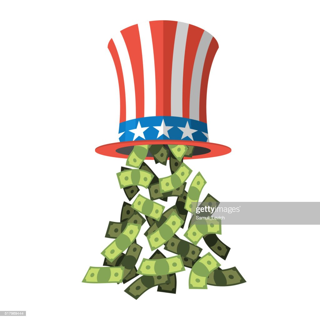 Uncle Sam hat and money. American hat. Hat  independence day