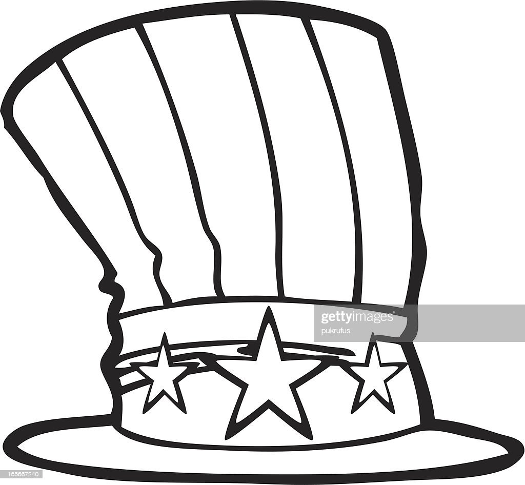 uncle sam hat line art vector art getty images rh gettyimages com Black and White Clip Art for New uncle sam clipart black white