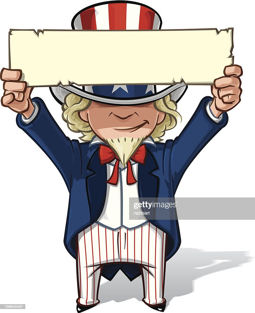 Uncle Sam Holding Up a Sign
