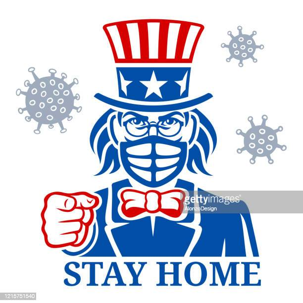 uncle sam pointing. stay home. - us military stock illustrations