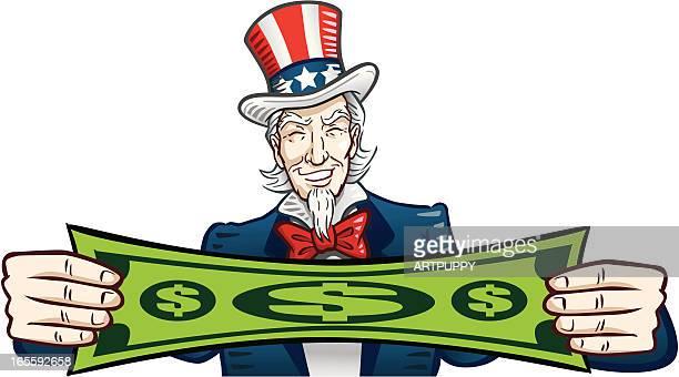 Uncle Sam Stretching Dollar