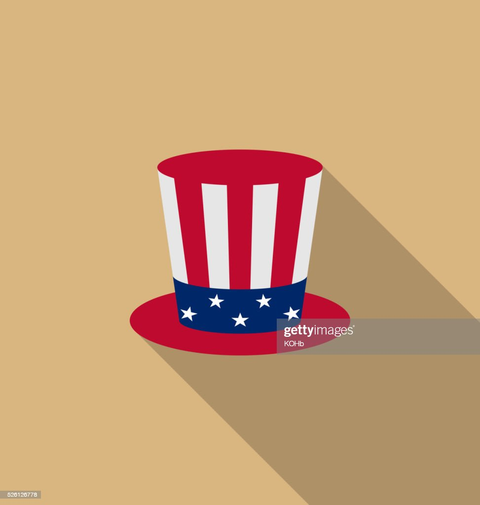 Uncle Sam's hat for american holidays, flat icon