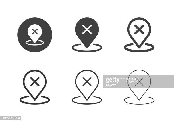 unconfirmed location icons - multi series - x marks the spot stock illustrations
