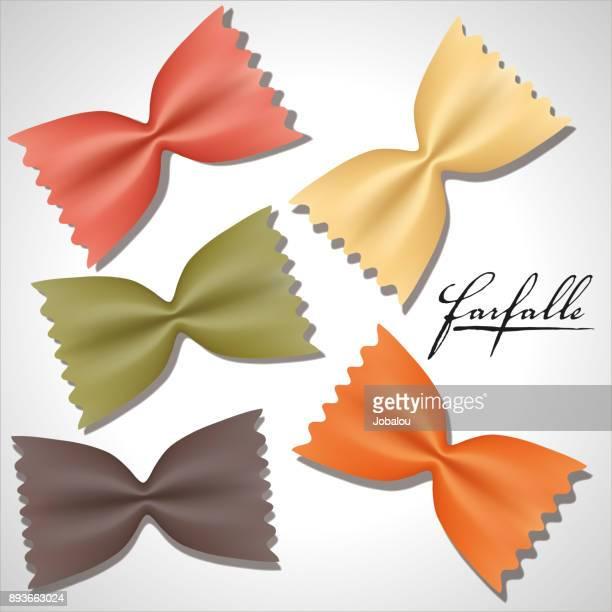 uncooked farfalle - macaroni stock illustrations, clip art, cartoons, & icons