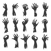 Undead zombie hand silhouettes