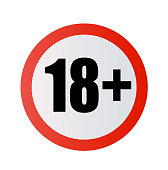 Under 18 years prohibition sign. adults only. Number eighteen in red crossed circle. symbols isolated on white background