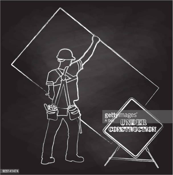 ilustrações, clipart, desenhos animados e ícones de sob o signo de giz de construção - cinto de ferramentas