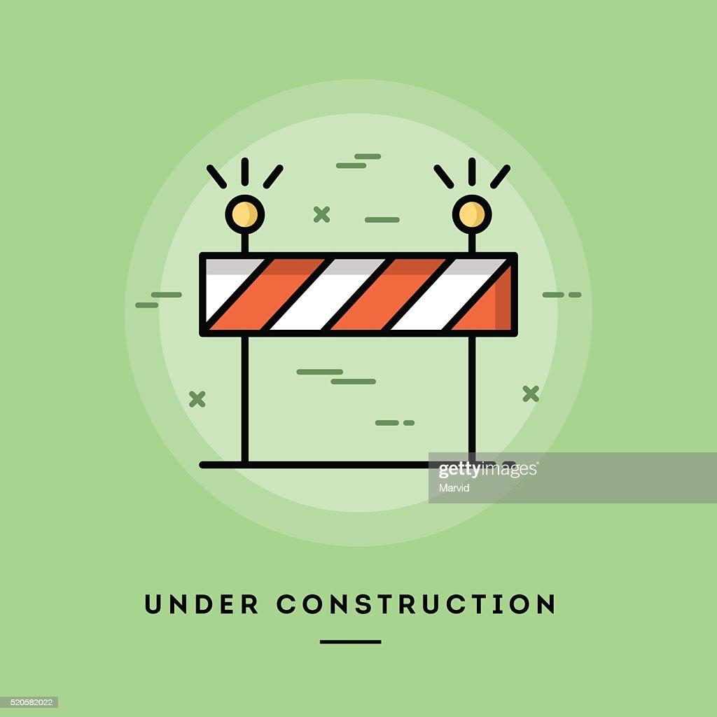 Under construction, flat design thin line banner
