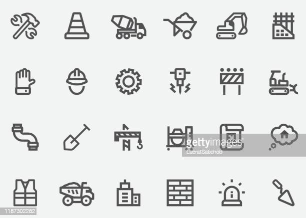 under construction graphics line icons - barricade stock illustrations