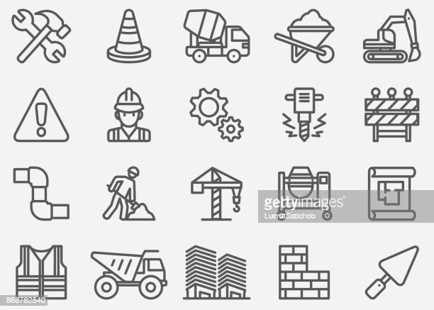 under construction line icons - brick stock illustrations