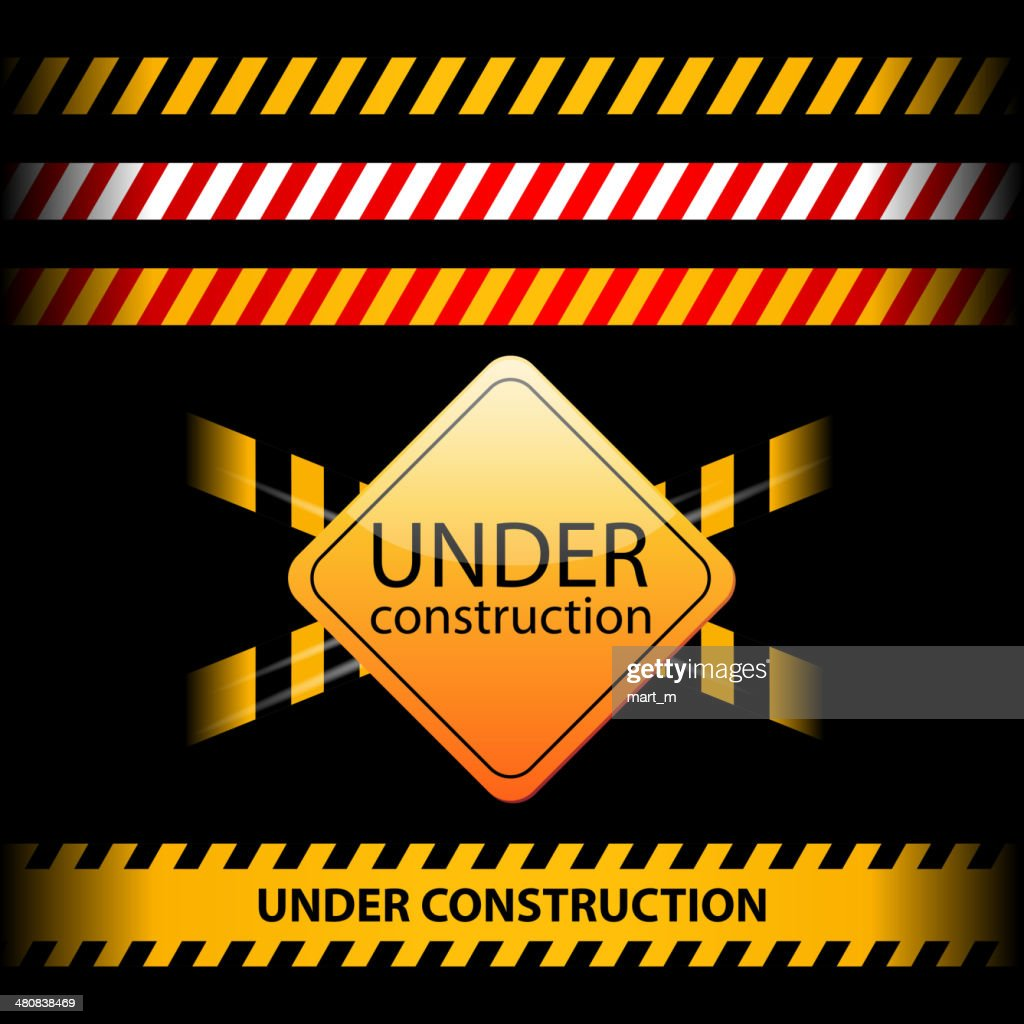 Under construction ribbons and design elements