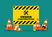 Under construction sign and traffic cones character