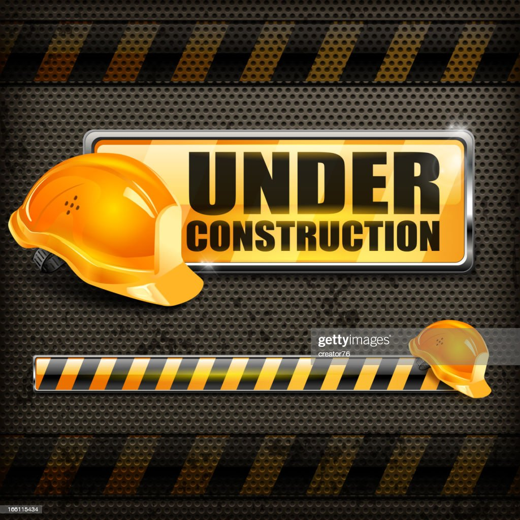 Under construction sign & helmet