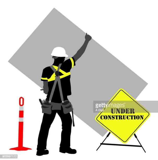 under construction sign - tool belt stock illustrations, clip art, cartoons, & icons