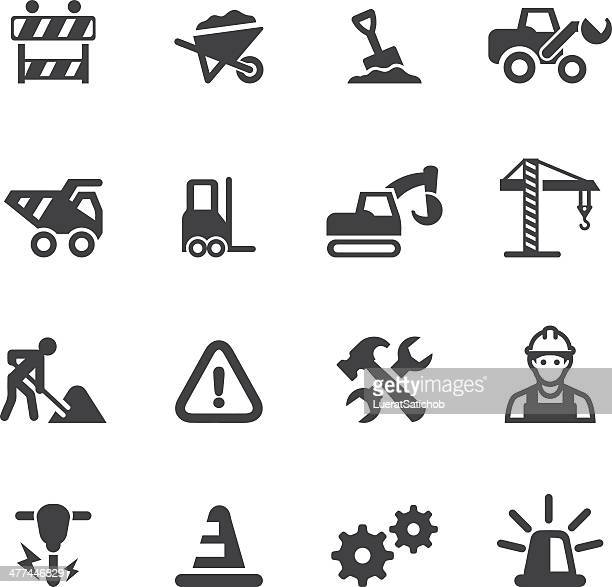 under construction silhouette icons - occupational safety and health stock illustrations, clip art, cartoons, & icons