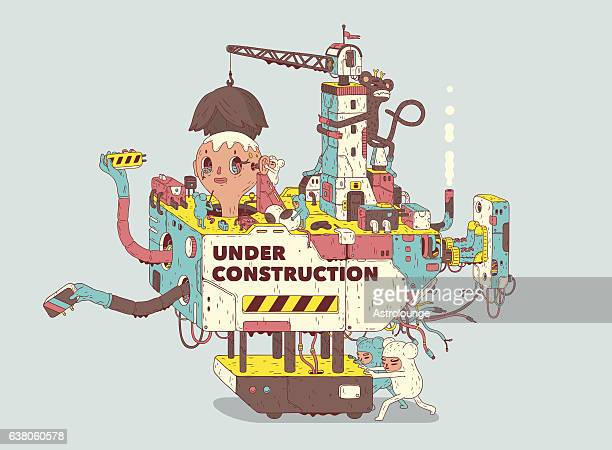 under construction - foundation stock illustrations, clip art, cartoons, & icons