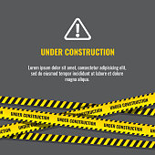 Under construction website page with black and yellow striped borders vector illustration