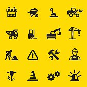 Under Construction Yellow Silhouette icons