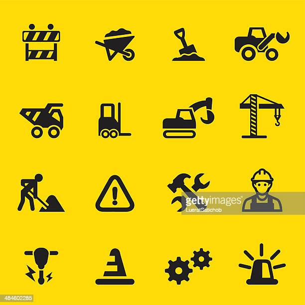under construction yellow silhouette icons - road construction stock illustrations