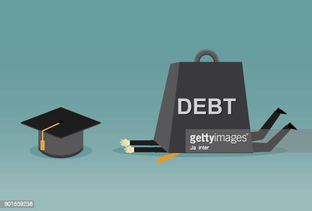 under education debt burden - students stock illustrations, clip art, cartoons, & icons