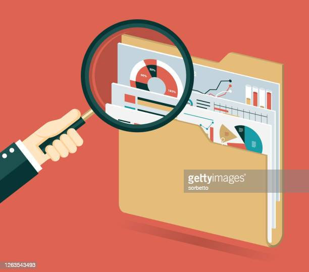 under magnifying glass with folder - privateinvestigator stock illustrations