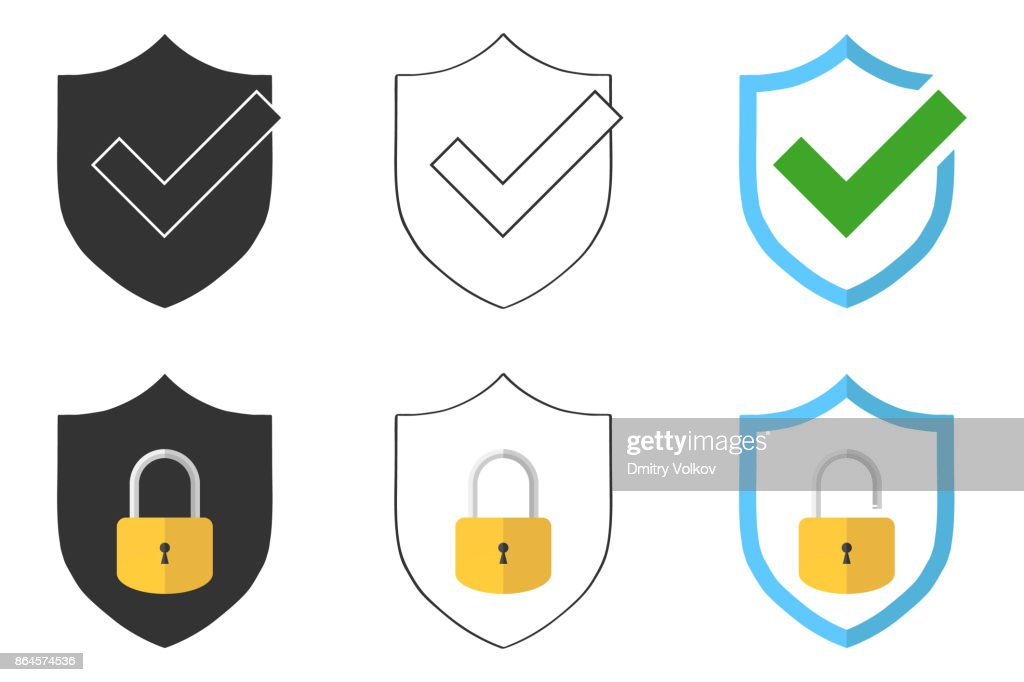 Under protection. Shield badge with lock.
