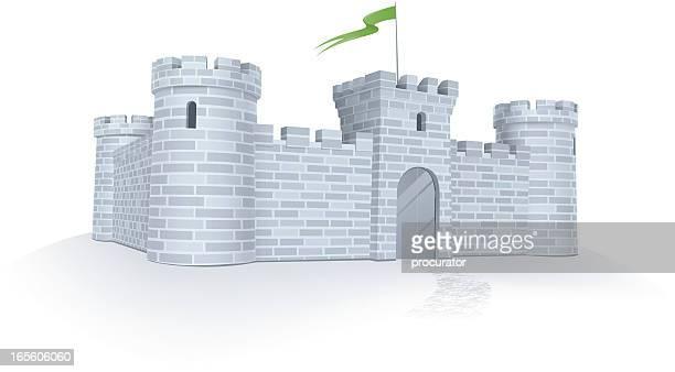 ilustrações, clipart, desenhos animados e ícones de sob proteção - castelo