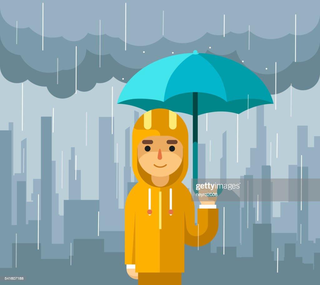 Under rain with umbrella. Man vector illustration