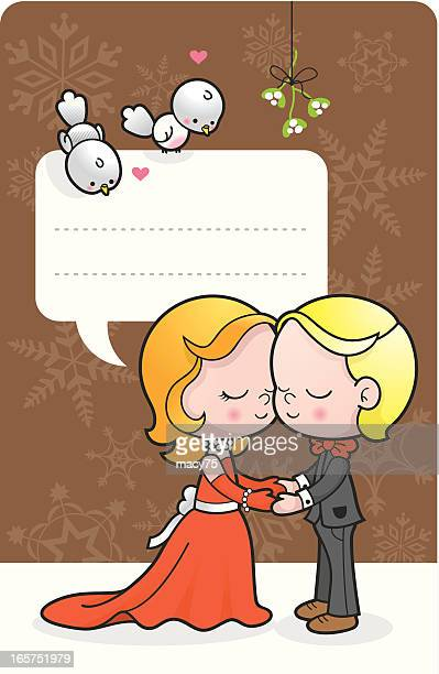 Under the mistletoe couple kids message label