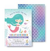 Under the sea birthday party invitation card