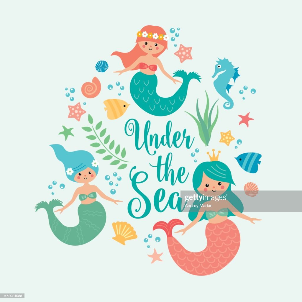 Under the sea card with mermaid
