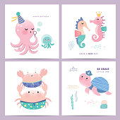 Under the sea cartoon poster/ card design