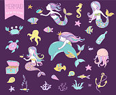 Under the sea - little mermaid, fishes, sea animals and starfish, vector collection