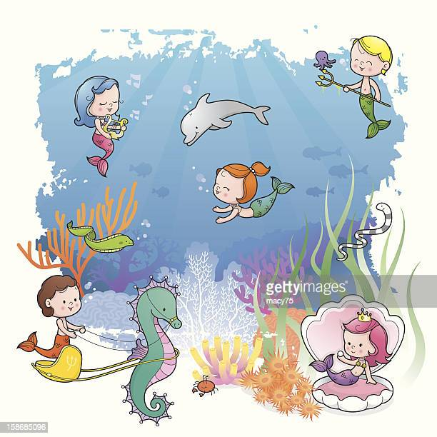 Under the sea with mermaid kids