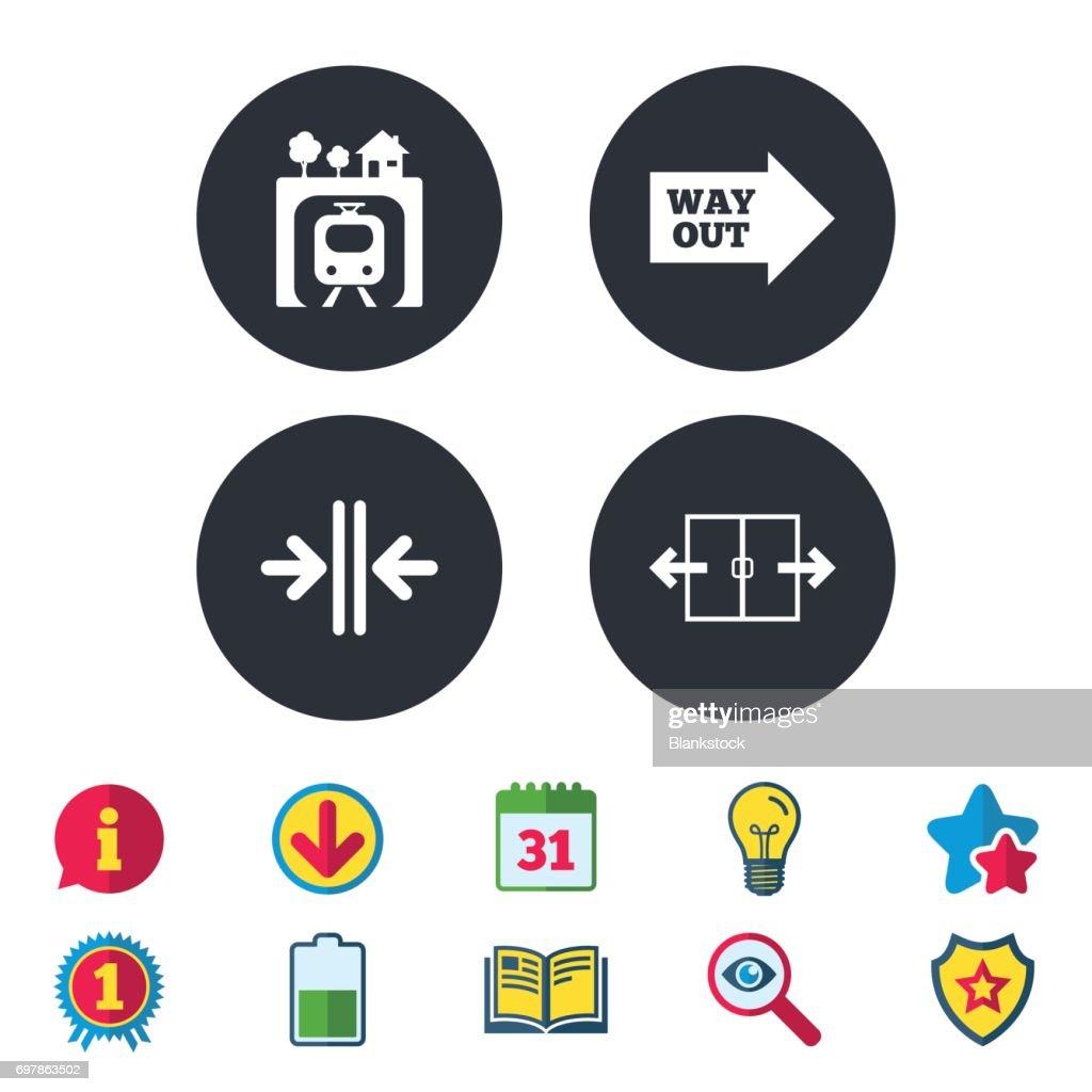 Underground icon. Automatic door symbol.