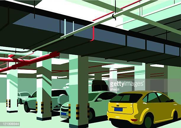 underground parking lot - parking stock illustrations, clip art, cartoons, & icons