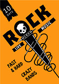 Underground party. Rock poster template with microphone and skull.
