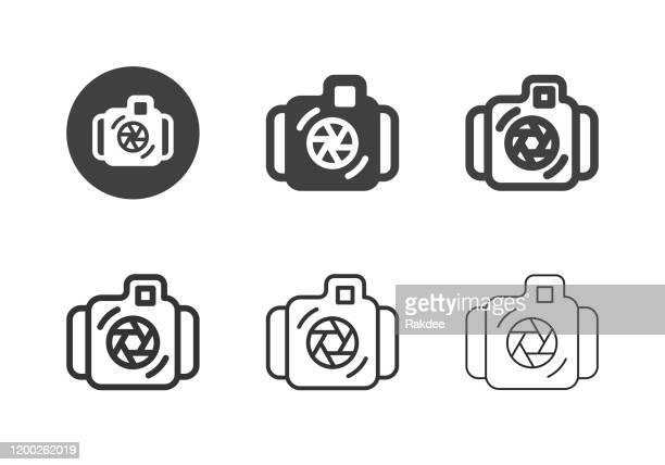 underwater camera icons - multi series - underwater film camera stock illustrations